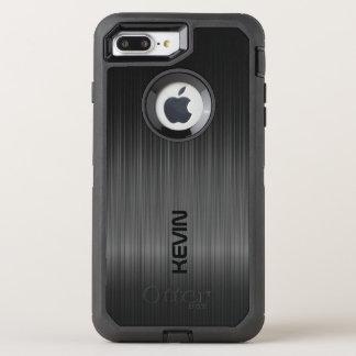 Capa Para iPhone 8 Plus/7 Plus OtterBox Defender Monograma preto da textura da fibra do carbono