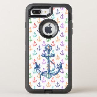 Capa Para iPhone 8 Plus/7 Plus OtterBox Defender O barco colorido náutico ancora o teste padrão