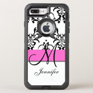 Capa Para iPhone 8 Plus/7 Plus OtterBox Defender O branco preto cor-de-rosa Monogrammed roda