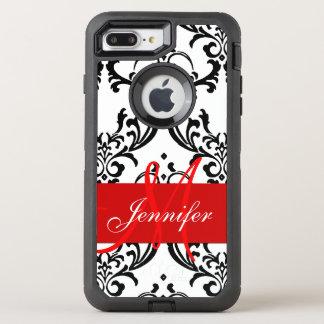 Capa Para iPhone 8 Plus/7 Plus OtterBox Defender O branco preto vermelho Monogrammed roda damasco