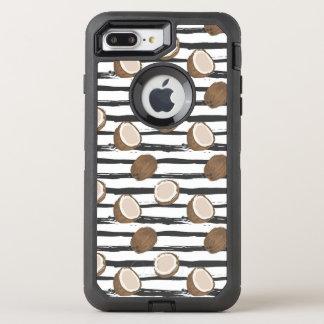 Capa Para iPhone 8 Plus/7 Plus OtterBox Defender Os cocos no Grunge listram o teste padrão