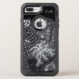 Capa Para iPhone 8 Plus/7 Plus OtterBox Defender Personalize: Tinta branca na arte preta do Doodle