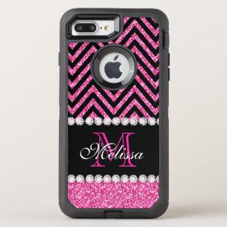 Capa Para iPhone 8 Plus/7 Plus OtterBox Defender Preto cor-de-rosa Chevron do brilho Monogrammed