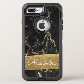 Capa Para iPhone 8 Plus/7 Plus OtterBox Defender Preto e mármore do ouro com folha e brilho de ouro