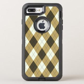 Capa Para iPhone 8 Plus/7 Plus OtterBox Defender Preto e teste padrão geométrico de Argyle das