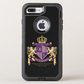 Capa Para iPhone 8 Plus/7 Plus OtterBox Defender Protetor dourado do leão do emblema do monograma