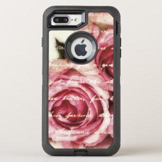 Capa Para iPhone 8 Plus/7 Plus OtterBox Defender Rosas cor-de-rosa do vintage