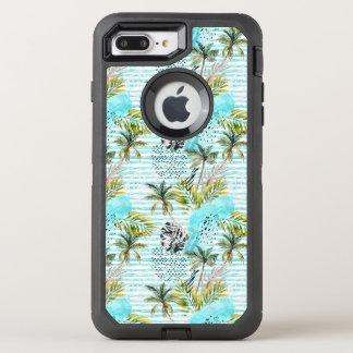 Capa Para iPhone 8 Plus/7 Plus OtterBox Defender Teste padrão abstrato da palmeira da aguarela