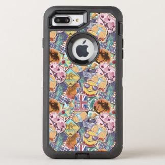 Capa Para iPhone 8 Plus/7 Plus OtterBox Defender Teste padrão colorido da etiqueta do viagem