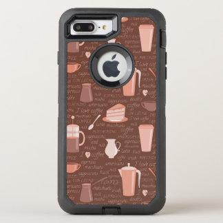 Capa Para iPhone 8 Plus/7 Plus OtterBox Defender Teste padrão com elementos relacionados do café