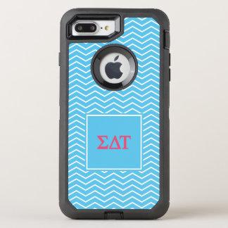 Capa Para iPhone 8 Plus/7 Plus OtterBox Defender Teste padrão da tau | Chevron do delta do Sigma