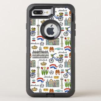 Capa Para iPhone 8 Plus/7 Plus OtterBox Defender Teste padrão do Doodle de Netherland