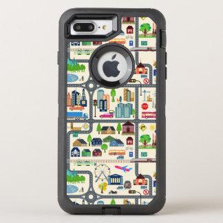 Capa Para iPhone 8 Plus/7 Plus OtterBox Defender Teste padrão do mapa da cidade
