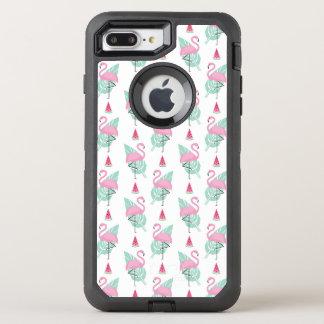 Capa Para iPhone 8 Plus/7 Plus OtterBox Defender Teste padrão do Pastel do flamingo & da melancia