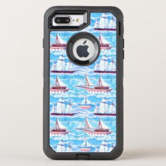 Capa Para iPhone 8 Plus/7 Plus OtterBox Defender Teste padrão dos navios de navigação da aguarela