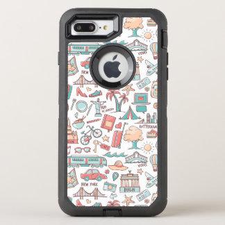 Capa Para iPhone 8 Plus/7 Plus OtterBox Defender Teste padrão Pastel do turista