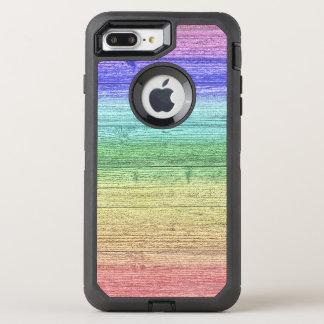 Capa Para iPhone 8 Plus/7 Plus OtterBox Defender Textura de madeira colorida arco-íris