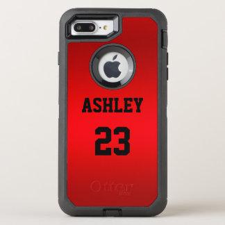 Capa Para iPhone 8 Plus/7 Plus OtterBox Defender Um número e um nome do jérsei no preto em um