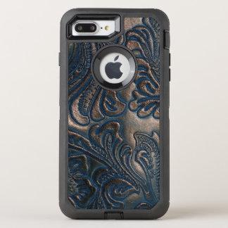 Capa Para iPhone 8 Plus/7 Plus OtterBox Defender Vintage gasto design gravado do couro de Brown