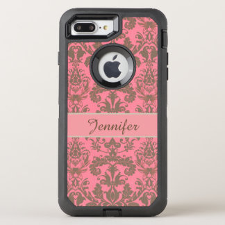 Capa Para iPhone 8 Plus/7 Plus OtterBox Defender Vintage, vermelho da violeta pálida & nome marrom