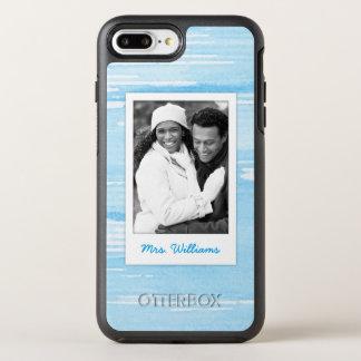 Capa Para iPhone 8 Plus/7 Plus OtterBox Symmetry A textura azul azul abstrata | adiciona a foto