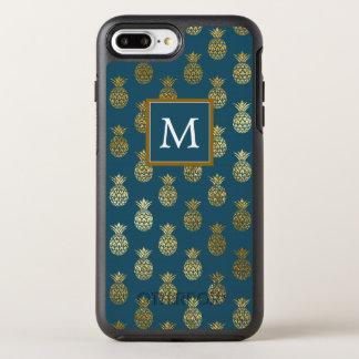Capa Para iPhone 8 Plus/7 Plus OtterBox Symmetry Abacaxis do azul do monograma |