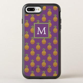 Capa Para iPhone 8 Plus/7 Plus OtterBox Symmetry Abacaxis do roxo do monograma |