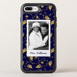 Capa Para iPhone 8 Plus/7 Plus OtterBox Symmetry Adicione seu teste padrão azul escuro do pavão da
