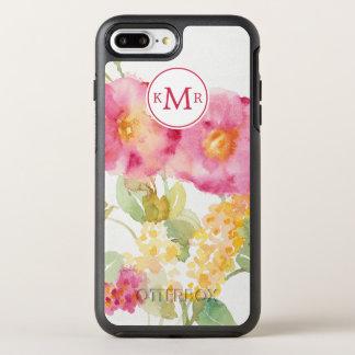 Capa Para iPhone 8 Plus/7 Plus OtterBox Symmetry Adicione sua margarida branca do monograma | no