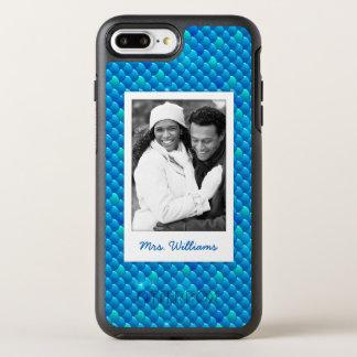 Capa Para iPhone 8 Plus/7 Plus OtterBox Symmetry Adicione suas escalas de peixes azuis de néon da