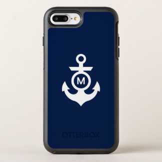 Capa Para iPhone 8 Plus/7 Plus OtterBox Symmetry Âncora náutica do monograma |
