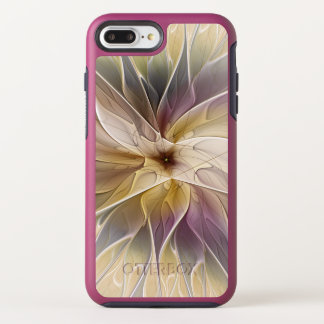 Capa Para iPhone 8 Plus/7 Plus OtterBox Symmetry Arte floral do Fractal do abstrato da beringela do