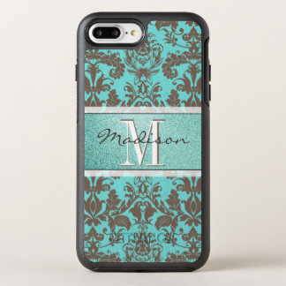 Capa Para iPhone 8 Plus/7 Plus OtterBox Symmetry Azul de turquesa da cerceta & damasco de Brown,