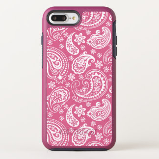 Capa Para iPhone 8 Plus/7 Plus OtterBox Symmetry Branco feminino no teste padrão cor-de-rosa de