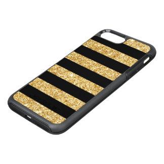 Capa Para iPhone 8 Plus/7 Plus OtterBox Symmetry Brilho elegante do ouro e teste padrão preto da