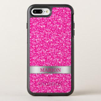Capa Para iPhone 8 Plus/7 Plus OtterBox Symmetry Brilho Monogrammed do rosa quente e do branco