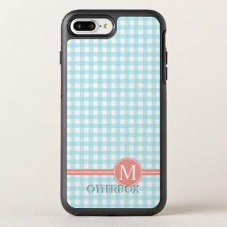 Capa Para iPhone 8 Plus/7 Plus OtterBox Symmetry Caixa azul Checkered bonita do monograma |