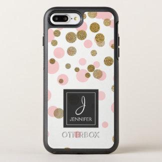 Capa Para iPhone 8 Plus/7 Plus OtterBox Symmetry Cor-de-rosa, branco e monograma dos confetes da