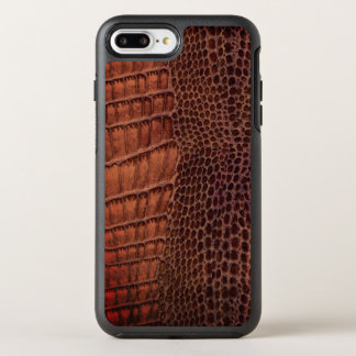 Capa Para iPhone 8 Plus/7 Plus OtterBox Symmetry Couro clássico do réptil do jacaré de Brown