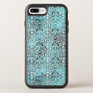 Capa Para iPhone 8 Plus/7 Plus OtterBox Symmetry Damasco azul de Shibori do Batik do paraíso da