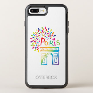 Capa Para iPhone 8 Plus/7 Plus OtterBox Symmetry Design de néon de Paris France | Arco do Triunfo |