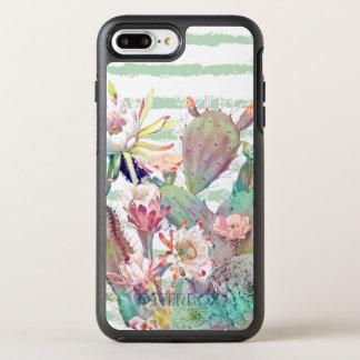 Capa Para iPhone 8 Plus/7 Plus OtterBox Symmetry Design do cacto, o floral e das listras da
