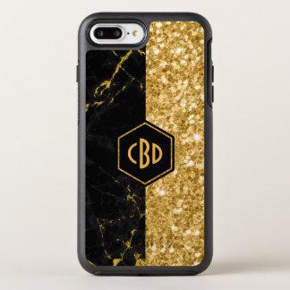 Capa Para iPhone 8 Plus/7 Plus OtterBox Symmetry Design preto do brilho do mármore & do ouro