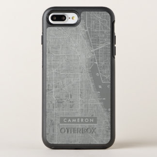 Capa Para iPhone 8 Plus/7 Plus OtterBox Symmetry Esboço do mapa da cidade de Chicago