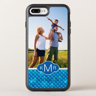 Capa Para iPhone 8 Plus/7 Plus OtterBox Symmetry Escalas de peixes azuis de néon do monograma |