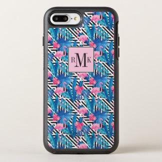 Capa Para iPhone 8 Plus/7 Plus OtterBox Symmetry Flamingo & palmas no teste padrão geométrico