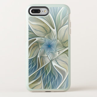 Capa Para iPhone 8 Plus/7 Plus OtterBox Symmetry Fractal Khaki azul do abstrato ideal floral do