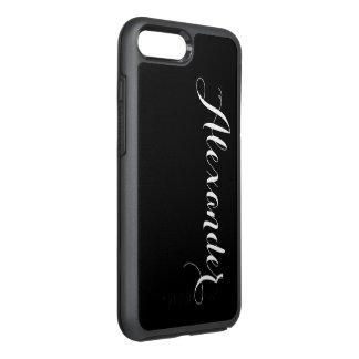 Capa Para iPhone 8 Plus/7 Plus OtterBox Symmetry Fundo da cor de DIY, preto conhecido do monograma