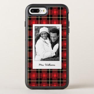 Capa Para iPhone 8 Plus/7 Plus OtterBox Symmetry Fundo vermelho da foto & da xadrez do nome
