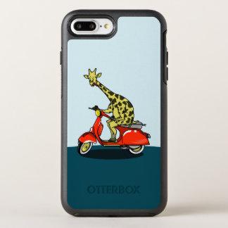 Capa Para iPhone 8 Plus/7 Plus OtterBox Symmetry Girafa em um moped retro vermelho